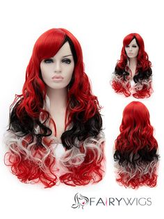 2015 Cool Long Wavy Synthetic Capless Mixed Color Wigs for Women