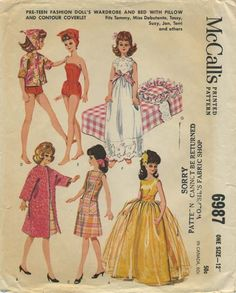 Vintage Doll Clothes Sewing Pattern | Pre-teen Fashion Doll's Wardrobe and Bed with Pillow and Contour Coverlet fits Tammy, Miss Debutante, Tassy, Suzy, Jan, Terri and others | McCall's 6987 | Year 1963 | One Size 12""
