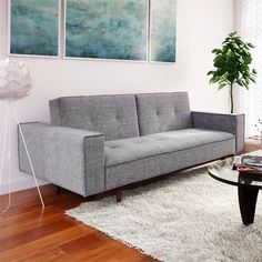 Sumptuously crafted Betsy Sofa Bed uses qualitative fabric. It comes in smooth Grey to easily match any light colored home decor. Detailed with walnut stained wood trim, it contains plush seating for style and comfort. Modern styling combined with true functionality perfectly describes the Betsy Sofa Bed.