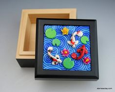 Koi Pond Mini Box in Polymer Clay Filigree by StarlessClay on Etsy