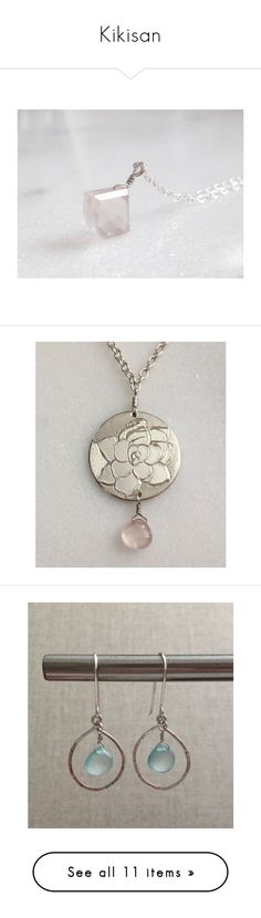 """""""Kikisan"""" by jarmgirl ❤ liked on Polyvore featuring jewelry, gem pendants, sterling silver gemstone pendants, gemstone jewelry, rose quartz jewelry, sterling silver gemstone jewelry, necklaces, kikisan, sterling silver pendant necklace and pink pendant necklace"""