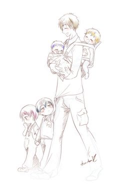 Mamakoto taking care of the kids /o/ I did this following their birthdays… so, Haru is 2 years old, Rin has 16 months, Nagisa 10 months, and Rei is 6 months old. (I worked in a daycare for 3 years… I love babies xD) Sorry, I was to bored to finish it...