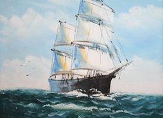 VINTAGE IMPRESSIONIST SEASCAPE MARINE SHIP OIL PAINTING | eBay
