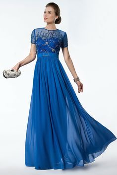 Fashion Beading Short Sleeves A-Line Floor Length Formal/Evening Dress, all beading work is done by hand.