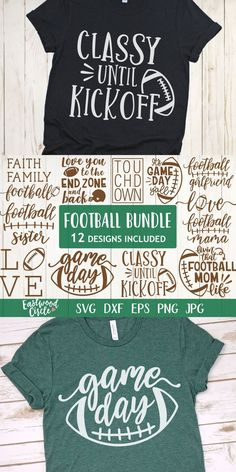 This football SVG bundle works great with the Cricut and Silhouette Cameo for crafters to make DIY projects such as shirts, signs, mugs, and more! Works great with heat transfer vinyl. Football Shirt Designs, Football Shirts, Super Bowl, Game Day Quotes, Architecture Design, Game Day Shirts, Circuit Projects, Circuit Crafts, Cricut Craft Room