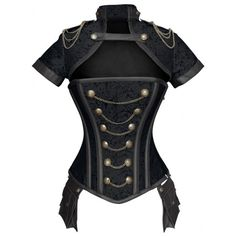 Black Steampunk Jacket Corset Set