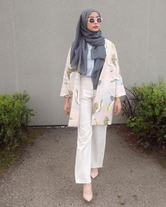 pink floral kimono + white shirt + loose pants + gray scarf/hijab + nude pointed toe heels + round sunglasses