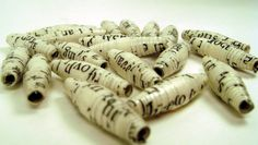 Book page paper beads