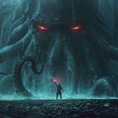 'Cthulhu the Sea Monster' by Andrée Wallin ( Dark Fantasy Art, Fantasy Kunst, Fantasy Artwork, Dark Art, Arte Horror, Horror Art, Art Cthulhu, Lovecraft Cthulhu, Hp Lovecraft