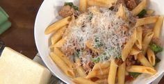 Penne with sausage and broccoli rabe by Curtis Stone Chef Cookbook, Cookbook Recipes, Cooking Recipes, Healthy Recipes, Cold Pasta Dishes, Tasty Dishes, Rice Dishes, Italian Dishes, Italian Recipes