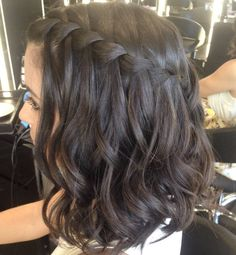black braided hairstyles Fantastic Waterfall Braids for Medium Hair 2019 for Women to Rock This Year Medium Hair Braids, Braids For Short Hair, Medium Hair Styles, Curly Hair Styles, Natural Hair Styles, Short Hair Prom Styles, Short Prom Hair, Hair Styles With Curls, Braided Short Hair