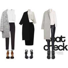 black and white outfits polyvore grey coat leather pants fashion