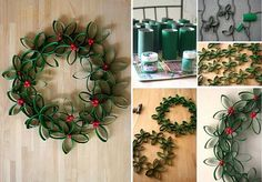 Christmas Wreath from Toilet Rolls