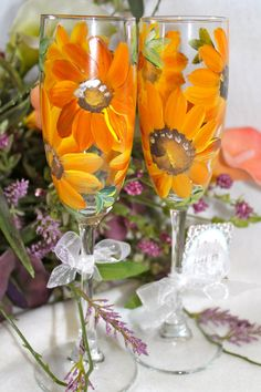 Wedding Champagne Flutes Sunflowers by Brusheswithaview on Etsy, $40.00