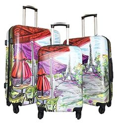 Luggage Sets Collections | 3pc Luggage Set Hardside Rolling 4wheel Spinner Carryon Travel Case Poly Paris *** You can find out more details at the link of the image. Note:It is Affiliate Link to Amazon.