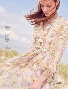 Susanne Knipper Poses in Dreamy Floral Dresses for Grazia UK