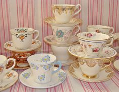 Vintage China Mis Matched Tea Cups & Saucers for Weddings or Events | eBay