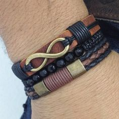 Kit 3 pulseiras masculinas couro infinito e onix facetada