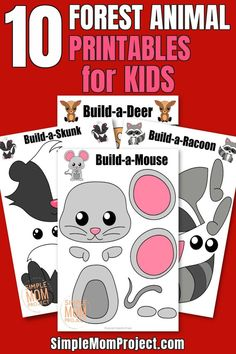 Wow! Here's a fun way for your kids to create their own forest friends. These 10 printable forest animal crafts include a cute mouse craft, a simple skunk craft, a decorative deer craft & many more. My kids loved using these to learn the alphabet! I know your toddlers, preschoolers & kindergartners will get hours of fun from these cut & paste forest animal crafts, so grab your copies today! #forestanimalcrafts #woodlandanimalcrafts #animalcrafts #printablecraftsforkids Forest Animal Crafts, Animal Crafts For Kids, Crafts For Kids To Make, Forest Animals, Skunk Craft, Raccoon Craft, Toddler Preschool, Preschool Crafts, Mouse Crafts