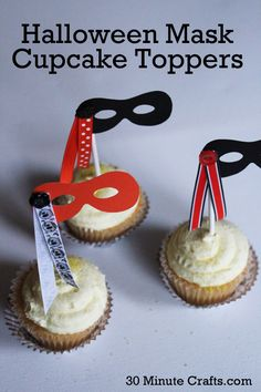 Halloween Mask Cupcake Toppers