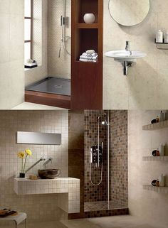 I like the one bath where the tile is the sink base, on the wall, simple...