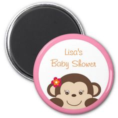 Little Miss Monkey Party Favor Magnets