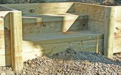 wooden retaining wall steps | Retaining wall Stairs