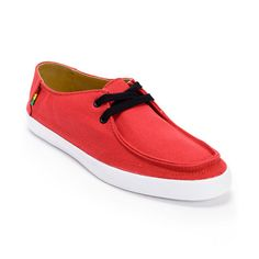 Share the irie vibes of the Rasta Rata Vulc slip on shoe from the Vans Surf Sider Collection. The Chili Pepper Red surf shoe features a premium textile upper with flexible vulcanized construction and mini-waffle tread. The reversed stitched toe box, Rasta color Vans logos, and contrast black laces and eyelets make the Rata Vulc shoe beach ready with islander style. The sizes shown are in men's. Find your shoe size.Check out all   Red Vans here.