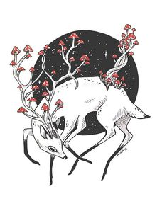 The Secrets Of Drawing Realistic Pencil Portraits - Amanita cornibus by efwood Illustration Au Crayon, Deer Illustration, Illustrations, Art Inspo, Drawing Sketches, Art Drawings, Drawing Ideas, Art Du Croquis, Zealand Tattoo