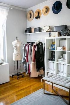 turn room into walk in closet white dressing room with hats