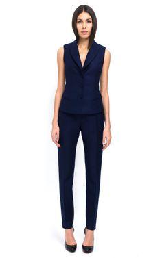 Gabardine Anglaise Suiting Vest by Bouchra Jarrar for Preorder on Moda Operandi