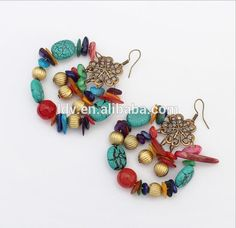 fashion circle earrings restoring ancient ways Folk customs colored stone earrings Handmade beaded jewelry