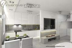 Projekt salonu Inventive Interiors - biokominek z szarym betonem pod telewizorem