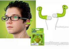 cool smiling worm ear buds, great gift for music lover teen $12.75