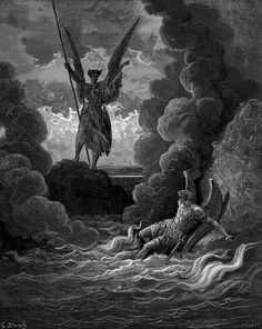 """Forthwith Upright He Rears from off the Pool His Mighty Stature, by Paul Gustave Doré (illustration for """"Paradise Lost"""" by John Milton)"""