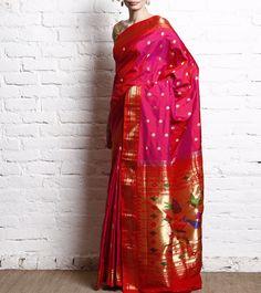 Nritya Kriti-Rani Pink Pure Silk Paithani Saree | Indian Artizans  #ShopNow #InstaFashion #InstaShop #InstaIndian #IndianArtizans #InstaEthnic #Ethnic #InstaStyle #Fashion #Collection #BuyNow #Garments #EthnicFiesta #OnlineShopping