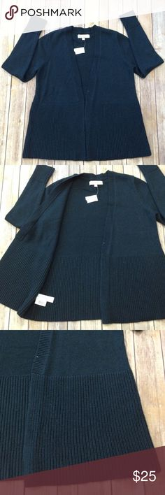 """Loft wide ribbed open green cardigan Made with Italian yarn. Wide ribbed placket, cuffs and hem Deep sea teal  26"""" ↕️ 25"""" sleeve LOFT Sweaters Cardigans"""