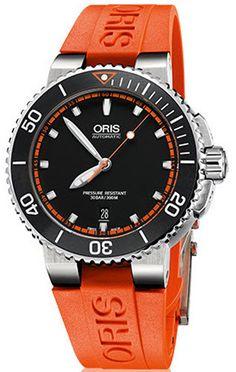 4d5168b74a1 Oris Watch Aquis Date Rubber Orange 01 733 7653 4128-07 4 26 32EB Watch