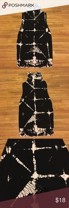 Mossimo Dress Black and tan tie dye dress. Stretchy material. In great condition.  Materials: 95% rayon, 5% spandex  Length: 41 in Size: Large Mossimo Supply Co. Dresses Maxi