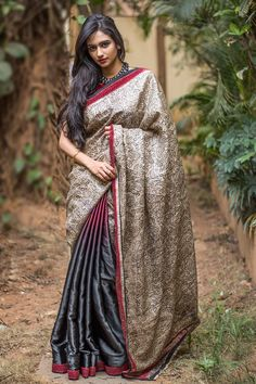Our tryst with half and half gorgeousness continues! Here we go again with this rich half and half drape in a maroon black shaded heavy pure satin, with the other half in stunning block printed heavy jute tussar fabric with paisley motifs. And man...are we so tripping on detailing. Check out the slim cutwork border in maroon. Undeniable sophistication! #houseofblouse #saree #blouse #indianwear #india #fashion #bollywood #black #maroon #jute #tussar #paisley #halfandhalfsaree