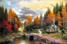Thomas Kinkade Autumn Paintings | Thomas Kinkade Paintings - Thomas Kinkade The Valley of Peace Painting