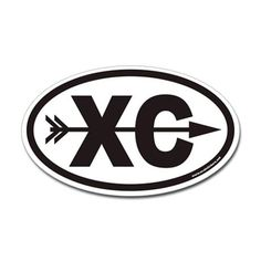 Cross Country Running XC Euro Oval Sticker with Ar Sticker by ovalstickers