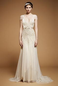 Jenny Packham Wedding Dress Fall 2012 Willow :|: Misha: a vintage inspired look - Old Hollywood glamour trending towards 30's style with beading.