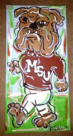 Mississippi State Bulldog Painting on 10x20 by ChicArtDesigns, $39.99