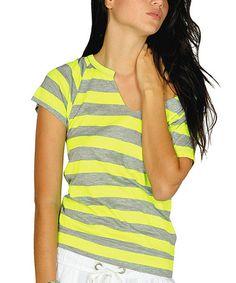 Look what I found on #zulily! Neon Yellow Stripe Cutout Top #zulilyfinds