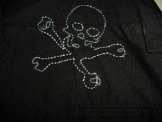 Mens Red Snap brand Black Pants Skull embroidery on pocket 34X31 Punk Rockabilly #CasualPants