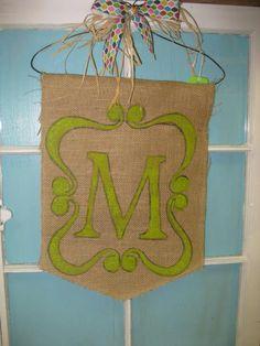 Monogram Burlap Door Hanger by Burlapulous on Etsy, $22.00
