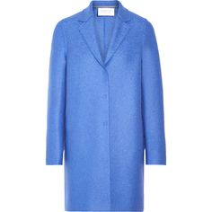 Harris Wharf London Cocoon wool-felt coat ($225) ❤ liked on Polyvore featuring outerwear, coats, blue, blue coat, woolen coat, cocoon coat, felt coat and drape coat