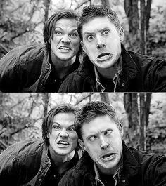 Sam and Dean <3 both very attractive even with dumb looks on their faces :)))