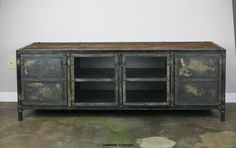 Vintage Industrial Buffet Credenza Steel Reclaimed Wood Top Media Console | eBay